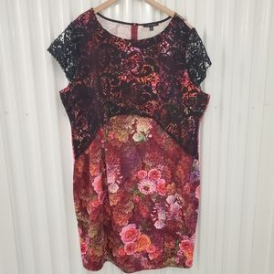 Nick Verreos   Floral Dress w/ Embroidered overlay